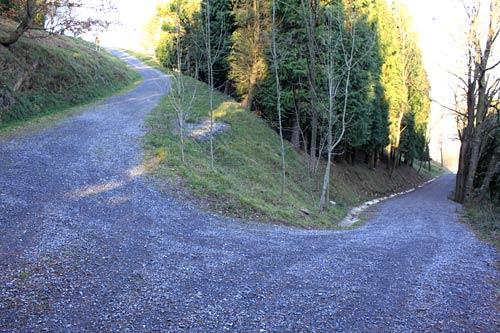 Tras esta curva comienza la subida al Arnotegi.