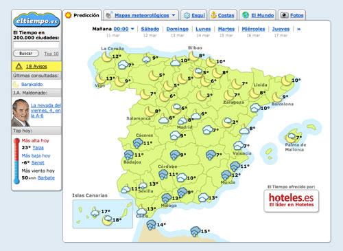 La previsión meteorológica de eltiempo.es es la más acertada.