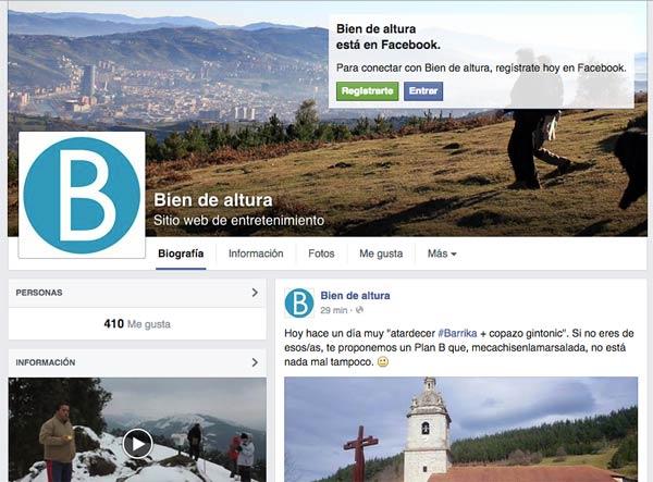 Perfil de Biendealtura.com en Facebook.