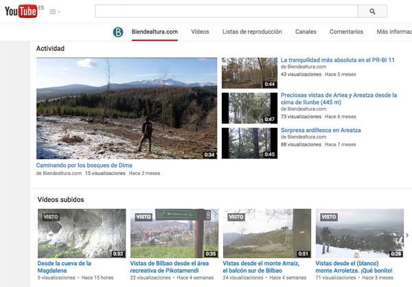 Canal de vídeos de Biendealtura.com en Youtube.